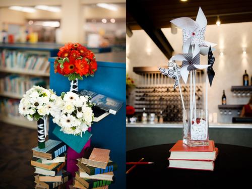 Tiệc cưới được tổ chức tại một quán cafe nhỏ, với những quyển sách là phụ kiện trang trí chính.