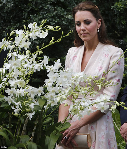 The Duchess of Cambridge's dress covered in orchids was a fitting choice for her visit to the National Orchid Garden in Singapore