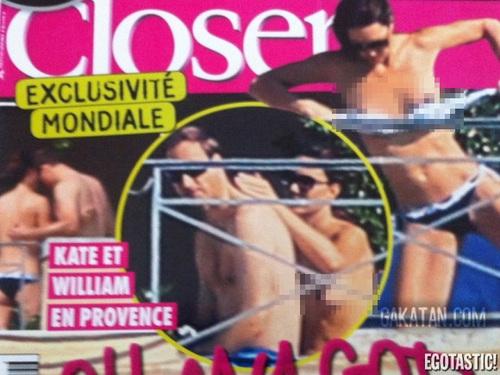 Hình ảnh Kate và William tắm nắng trên trang bìa tạp chí Closer hôm qua.
