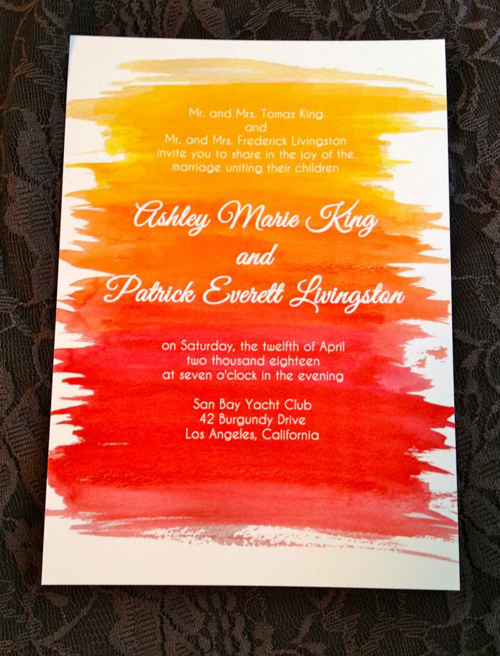 Thiệp cưới mang sắc màu đổ ombre nổi bật.
