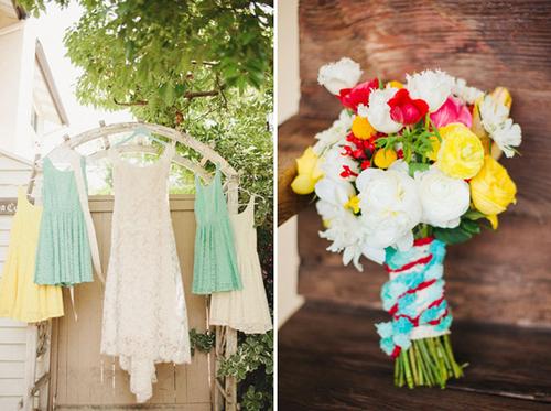 Đám cưới xanh bạc hà pha màu rực rỡ