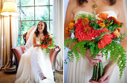 Sắc cam, gam chủ đạo ở hoa cưới mùa thu