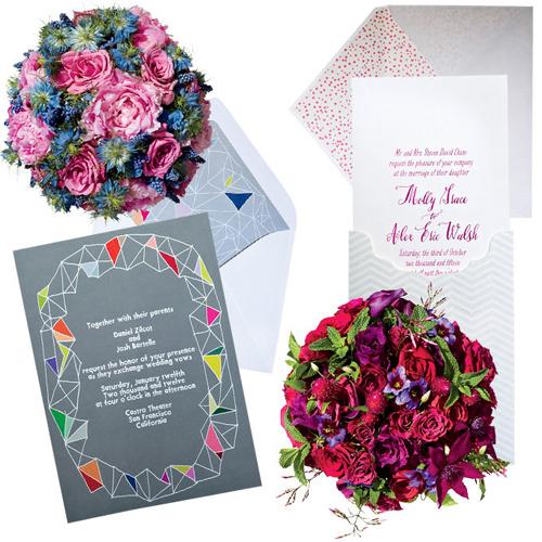 Những bộ thiệp và hoa cưới ton sur ton