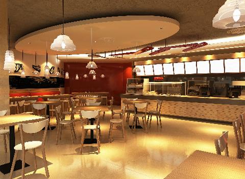 Không gian nhà hàng được thiết kế trẻ trung, hiện đại nhưng không kém phần tinh tế của màu gỗ sơn trầm làm chủ đạo.