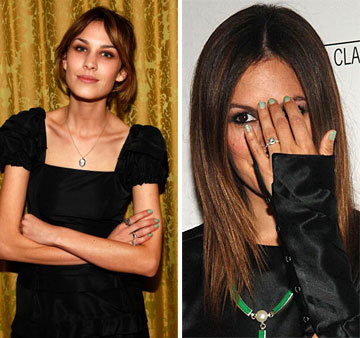 Alexa Chung (left) and Rachel Bilson (right) rock pale green polish.