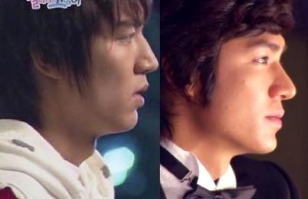 Diễn viên Lee Min Ho trước (trái) và sau khi phẫu thuật thẩm mỹ mũi.