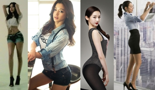 Thèm muốn S-line: (trái sang phải) Hyomin, Jun Ji Hyun, Minkyung, Shin Min Ah