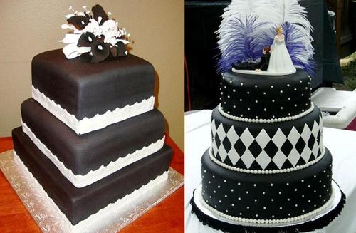 8. Bánh cưới trắng đen: Nhiều người cho rằng màu đen là màu không vui vẻ, nhưng một số khách lại đồng ý rằng màu đen thể hiện sự sang trọng. Vì vậy họ chọn màu đen cho bánh cưới, và sẽ thật thiếu sót nếu không sử dụng những họa tiết trắng trên nền bánh đen. Hai tông màu đối lập này sẽ tạo ra chiếc bánh cưới độc đáo và cá tính.