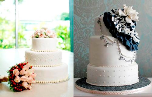 3. Bánh cưới thời trang: Những chiếc bánh được làm dựa trên chiếc váy cưới hay những bộ trang phục cầu kỳ, các chi tiết thời thượng ngày càng thịnh hành. Loại bánh này thích hợp cho các cô dâu sành điệu hoặc muốn ton sur ton hoàn toàn từ váy cưới tới bánh cưới để làm mình thêm nổi bật. Điểm đặc biệt của kiểu bánh này là thường có các chi tiết trang trí mềm mại như bèo nhúm, pha lê, hạt cưới hay bánh cưới phủ kim loại...