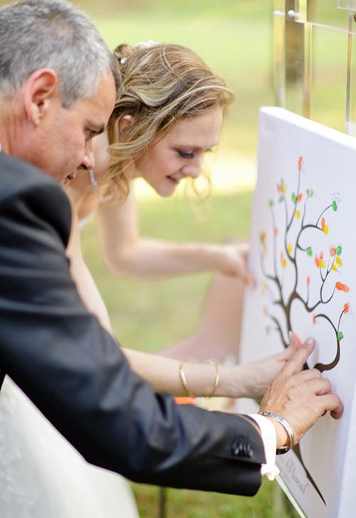 Trước khi hôn lễ diễn ra, cô dâu chú rể cũng đừng quên in dấu vân tay của mình vào bức tranh ngày cưới.