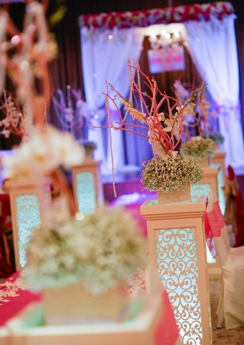 Lối dẫn lên sân khấu được trang trí bằng những cành khô sơn hồng cắm cùng hoa baby và lan yểu điệu.