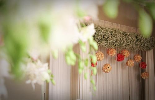 Với sở thích hoa baby đặc biệt từ cô dâu, nên chỉ cần bước chân ra khỏi thang máy là tất cả quan khách đều có thể thấy ngay sắc hoa chủ đạo được trang trí nhẹ nhàng như 1 dây leo, dưới là những bo hoa hồng đung đưa tạo điểm nhấn cho phông chụp hình thêm lãng mạn...