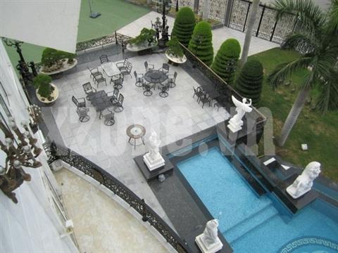 Rất nhiều bức tượng góp phần tô điểm thêm cho bể bơi nằm trong khuôn viên của căn biệt thự.