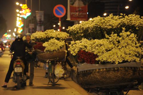 Những giỏ hoa chất đầy cúc họa mi trắng muốt rung rinh trên phố, lắc lư sau đuôi xe đạp của những người bán rong.