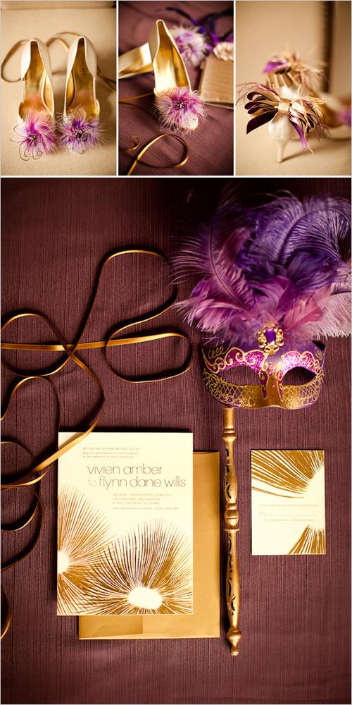 Đám cưới màu tím và vàng đồng sang trọng