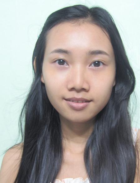 01. Người mẫu khuôn mặt tròn, da không đều màu, mắt 2 mí.