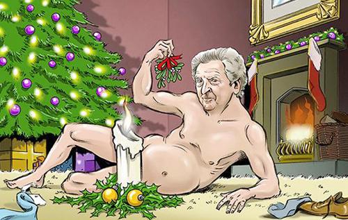 HLV tuyển Anh Roy Hodgson bên cây thông Noel.