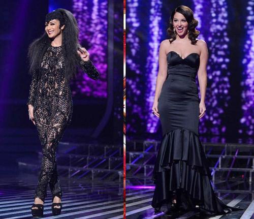 Bộ jumsuit đen bằng ren của Nicole thực sự thu hút mọi ánh nhìn của khán giả, nhất là khi nữ giám khảo này để mái tóc xù bông đầy 'nổi loạn'.