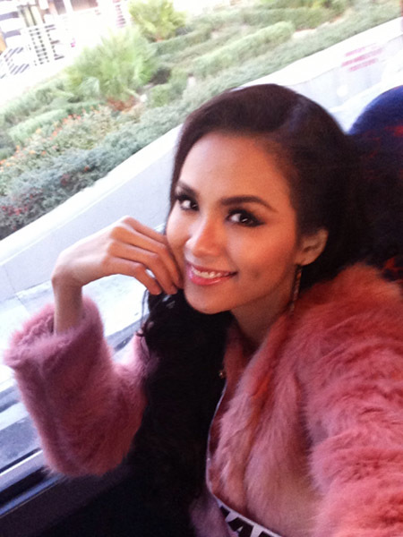 Hôm nay, Hoa hậu Diễm Hương vừa trải qua ngày thi thứ tám tại Miss Universe 2012 ở Las Vegas.