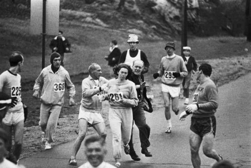 Awesome moments in history -- In 1967, Kathrine Switzer was the first woman to run the Boston marathon. After realizing that a woman was running, race organizer Jock Semple went after Switzer shouting, Get the hell out of my race and give me those numbers. However, Switzers boyfriend and other male runners provided a protective shield during the entire marathon.The photographs taken of the incident made world headlines, and Kathrine later won the NYC marathon with a time of 3:07:29. [Wiki] ~ In appreciation of all you strong women