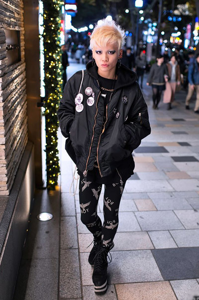 Ran into Chamii tonight in Harajuku. He's part of a group of Tokyo street fashion kids that wear lots of Boy London. Tonight's outfit featured a bomber jacket, platform boots, a tongue piercing and - of course - plenty of Boy London.