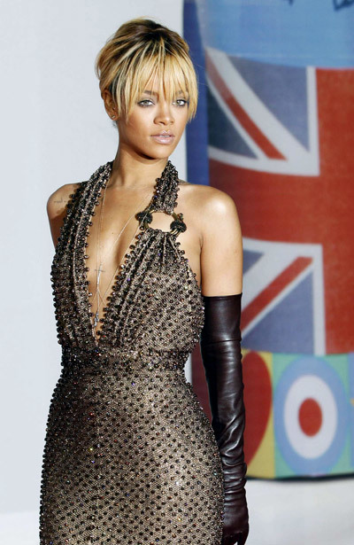 Rihanna hits the red carpet in GivenchyHaute Couture at the Brit Awards 2012, held on Tuesday (February 21) at the O2 Arena in London, England.