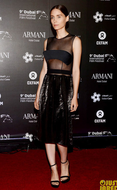 Rooney Mara are stylish as can be at the 2012 Dubai International Film Festival, Dubai Cares and Oxfams One Night to Change Lives Charity Gala held at the Armani Hotel on Friday (December 14) in Dubai, United Arab Emirates.