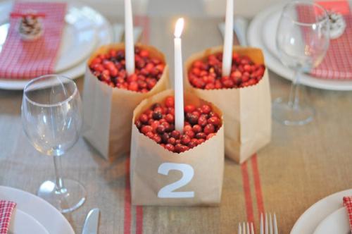 Những con số được dán trên túi giấy đựng hoa quả, vừa hữu dụng, vừa là vật trang trí bàn tiệc.