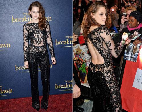 Khi tới London, Kristen Stewart lại diện một chiếc váy ren sexy khác.