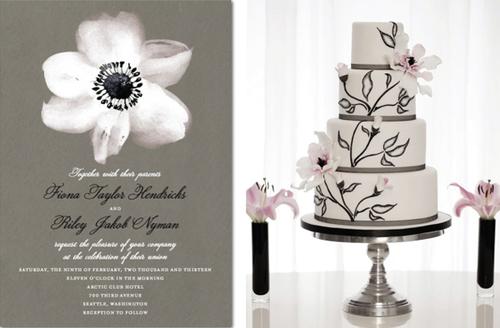 Thiệp cưới có sắc màu giống bánh cưới.