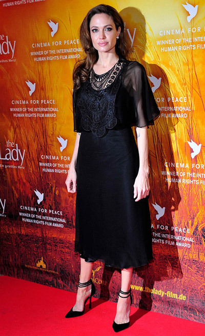 The Dress: A black silk midi by Miguelina. The Occasion: The premiere of The Lady at the 2012 Berlin Film Festival