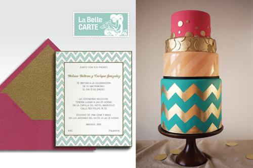 Những đường zigzac trên thiệp cũng chính là đường nét trang trí của chiếc bánh.