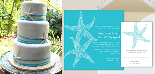 Thiệp mang tông màu và phong cách chủ đạo của đám cưới về biển.