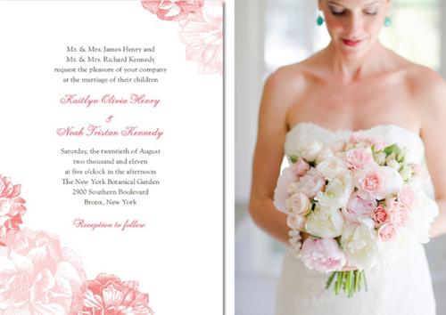 Thiệp cưới in hoa là xu hướng của đám cưới mùa xuân sắp tới. Cô dâu cũng đừng quên chọn cho mình một bó hoa có màu sắc tương đồng với thiệp mời.