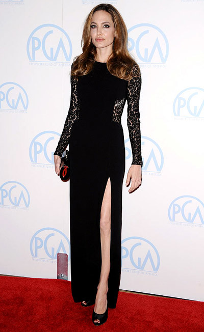 The Dress: Split-to-the-thigh, lace panelled Michael Kors. The Occasion: The 2012 Producers Guild Awards.