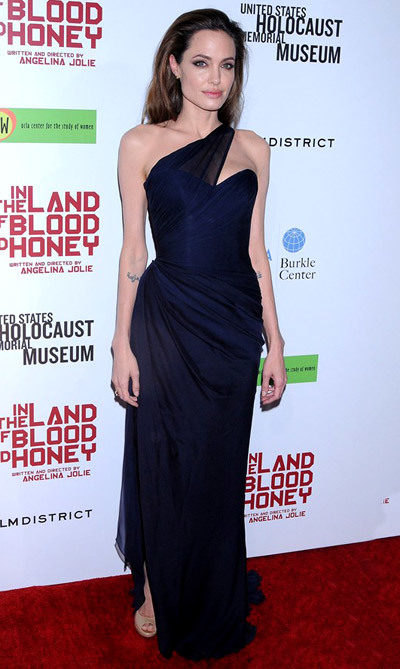 The Dress: A navy gown by Romona Keveza. The Occasion: In The Land Of Blood And Honey's LA premiere.