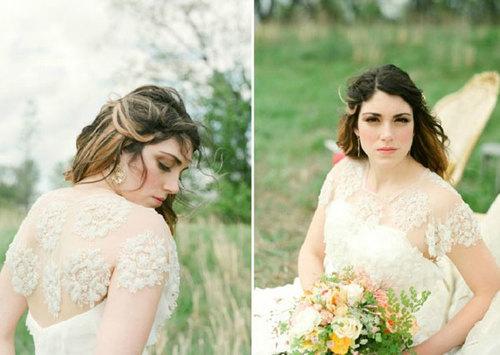 Họa tiết thêu ren nổi làm chiếc váy cưới trở nên độc đáo.
