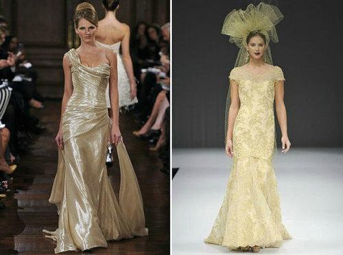 Ánh kim xuất hiện rất nhiều trên các phụ kiện và váy cưới.