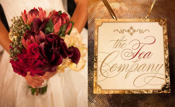 Hoa cưới của cô dâu là tông màu đỏ sậm, thể hiện nét đẹp quý phái.