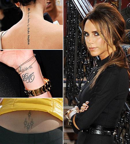 Không chỉ nổi bật bởi gu thời trang tinh tế, Victoria Beckham còn thu hút được sự chú ý của công chúng bởi những hình xăm vô cùng ấn tượng. Tính đến nay, bà mẹ của 4 đứa con sở hữu tổng cộng 6 hình xăm ở phần cổ, hai bên cổ tay và phần dưới lưng.