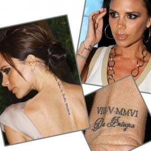 """Dưới dãy số La Mã bên cổ tay phải, Vic tiếp tục xăm một cụm từ Latin De Integro. Cựu thành viên Spice Girls tiết lộ, hình xăm này nhằm đánh dấu dòng sản phẩm thời trang denim của cô ra đời tại Boston (Mỹ) năm 2008. Cụm từ này có nghĩa again from the start, tạm dịch là """"Lại một sự khởi đầu mới"""" và nhiều người cho rằng hình xăm này còn có ý nghĩa đánh dấu một cuộc sống mới của Vic và Beck cùng những đứa con tại nước Mỹ vào năm 2007."""