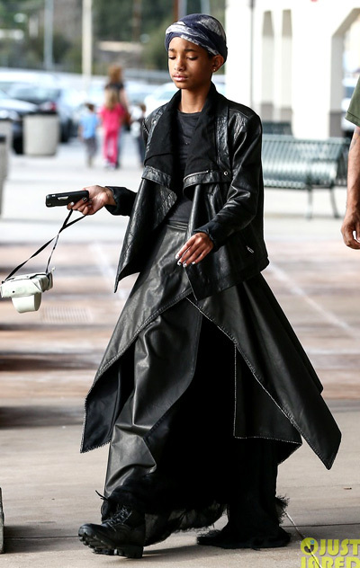 Willow Smith wears layers of leather over a black flowing gown as she leaves a camera shop on Tuesday (January 22) in Woodland Hills, Calif.