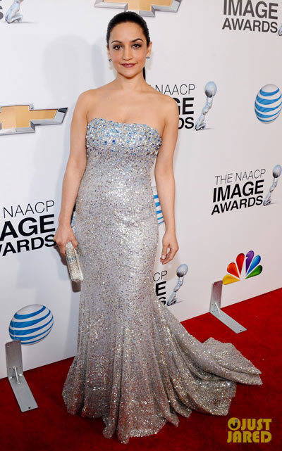 Archie Panjabi walk the red carpet at the 2013 NAACP Image Awards held at the Shrine Auditorium on Friday (February 1) in Los Angeles.