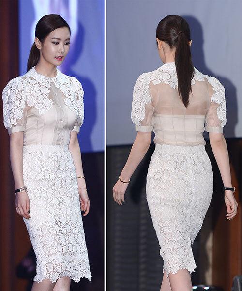 Với phong cách ăn mặc kín đáo và nữ tính, Lee Da Hae càng thu hút.