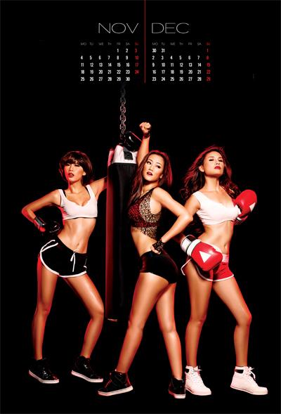 Bộ môn boxing cũng được đưa vào làm bối cảnh chụp hình cho bộ lịch.