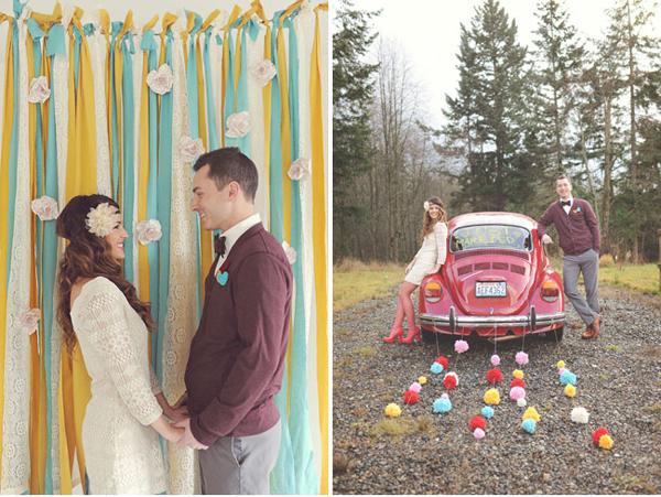 Đám cưới là sự kết hợp của ba sắc màu, xanh, đỏ, vàng với sắc độ nhạt trung hòa.