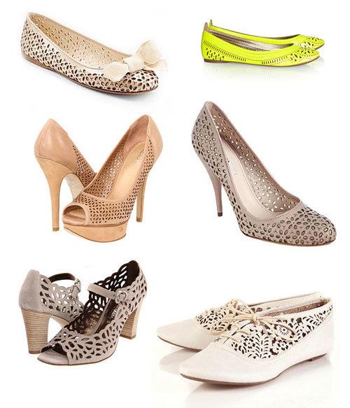 Ngoài váy cưới, giày dành cho cô dâu cũng có những biến tấu ấn tượng nhờ đường cắt laser sáng tạo.