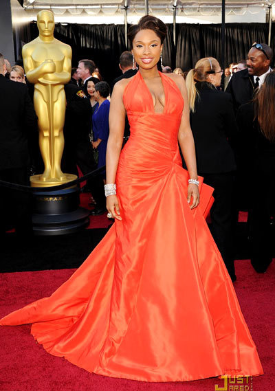 Jennifer Hudson, 2011 Jennifer Hudson flaunted her incredible slimmed down form in this va-va-voom Versace tangerine orange dress. 'Oh my god I cant sleep at night,' she gushed on the red carpet. 'When I first tried on the dress I didnt want to take it off!'