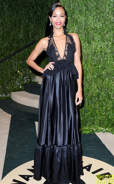 Zoe Saldana switches her outfit to attend the 2013 Vanity Fair Oscar Party held at Sunset Tower on Sunday (February 24) in West Hollywood, Calif.