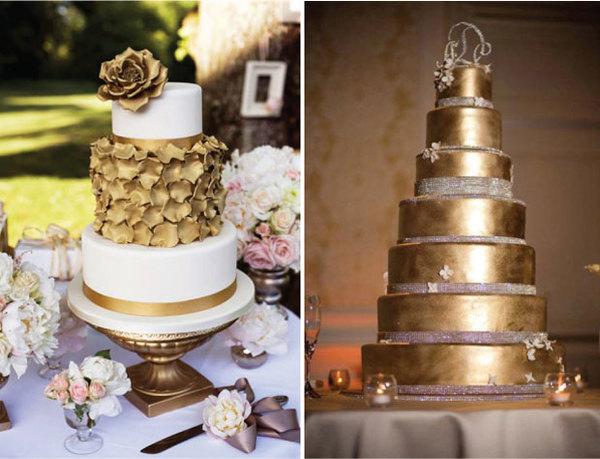 Chiếc bánh cưới như được bọc lớp kim loại lạ mắt.